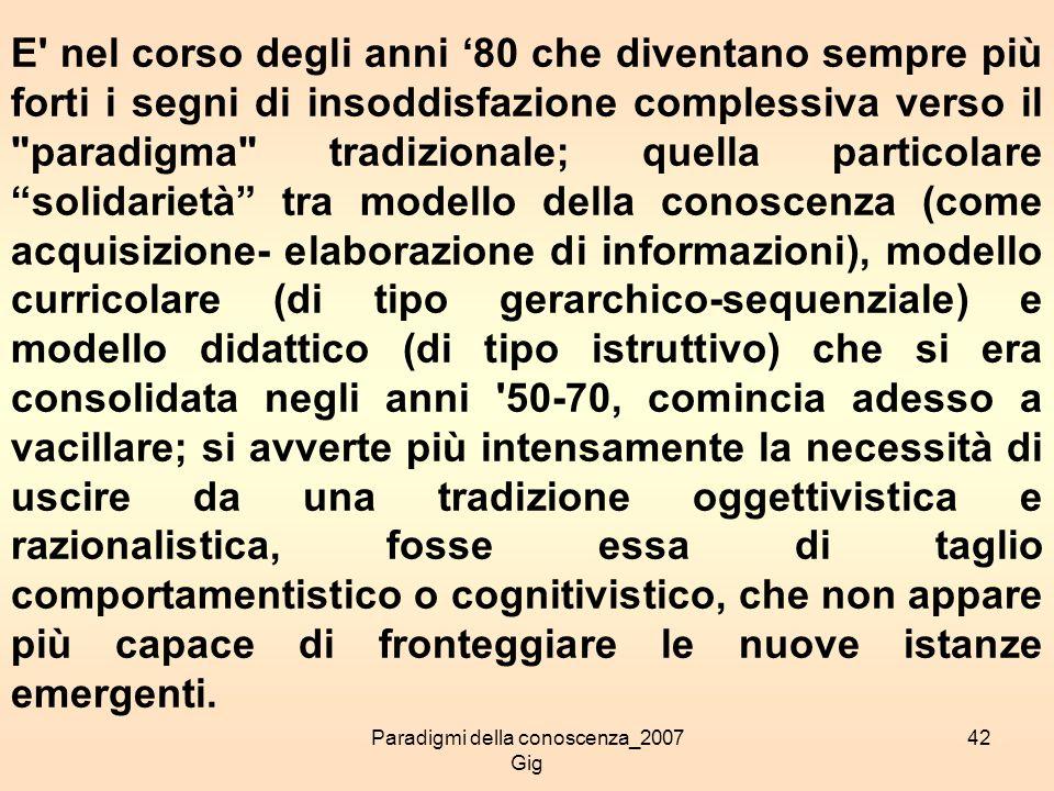 Paradigmi della conoscenza_2007 Gig 42 E' nel corso degli anni 80 che diventano sempre più forti i segni di insoddisfazione complessiva verso il