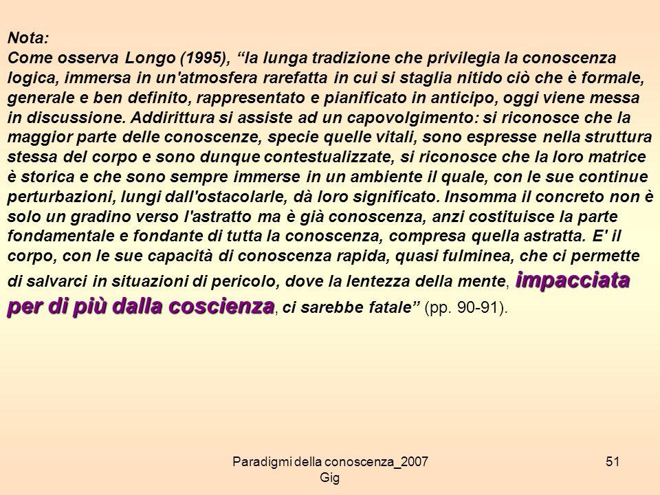 Paradigmi della conoscenza_2007 Gig 51 Nota: impacciata per di più dalla coscienza Come osserva Longo (1995), la lunga tradizione che privilegia la co