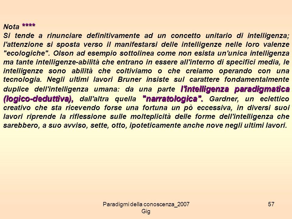Paradigmi della conoscenza_2007 Gig 57 **** Nota **** l'intelligenza paradigmatica (logico-deduttiva),