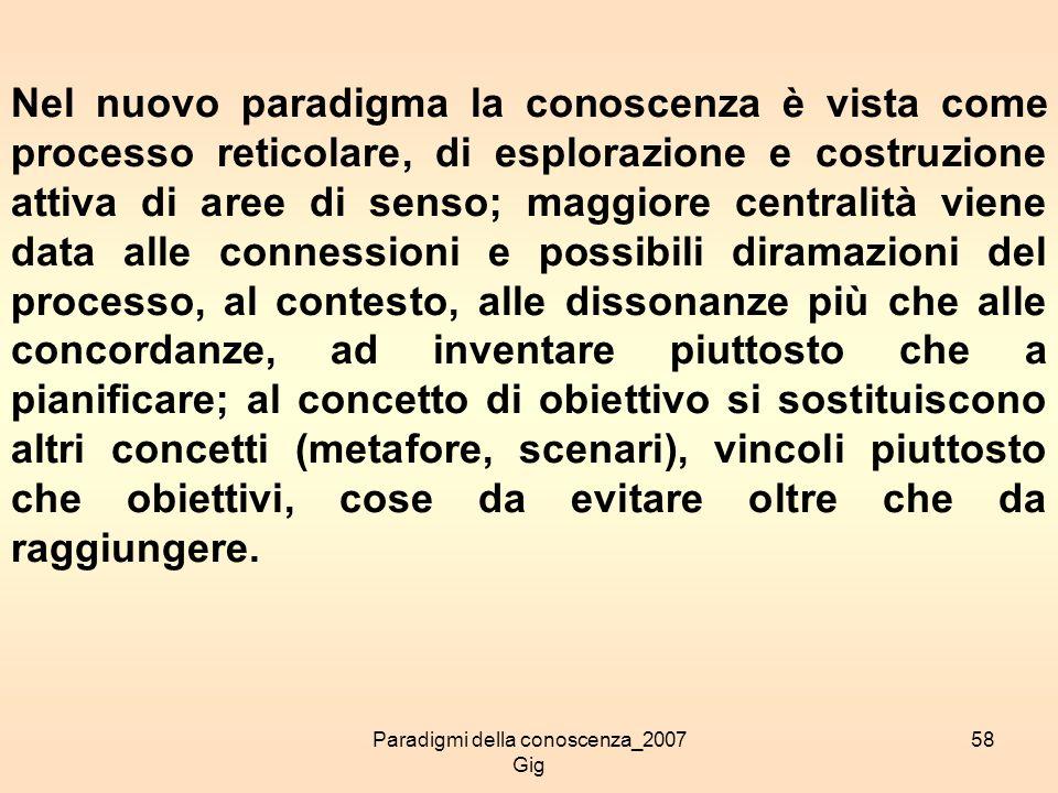 Paradigmi della conoscenza_2007 Gig 58 Nel nuovo paradigma la conoscenza è vista come processo reticolare, di esplorazione e costruzione attiva di are