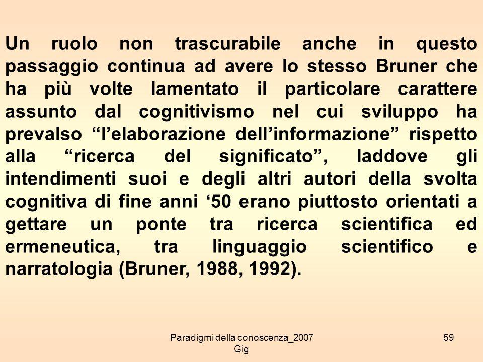 Paradigmi della conoscenza_2007 Gig 59 Un ruolo non trascurabile anche in questo passaggio continua ad avere lo stesso Bruner che ha più volte lamenta