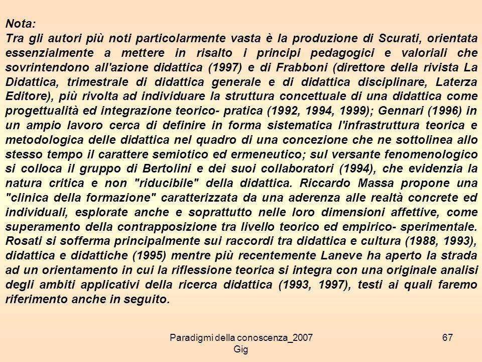 Paradigmi della conoscenza_2007 Gig 67 Nota: Tra gli autori più noti particolarmente vasta è la produzione di Scurati, orientata essenzialmente a mett