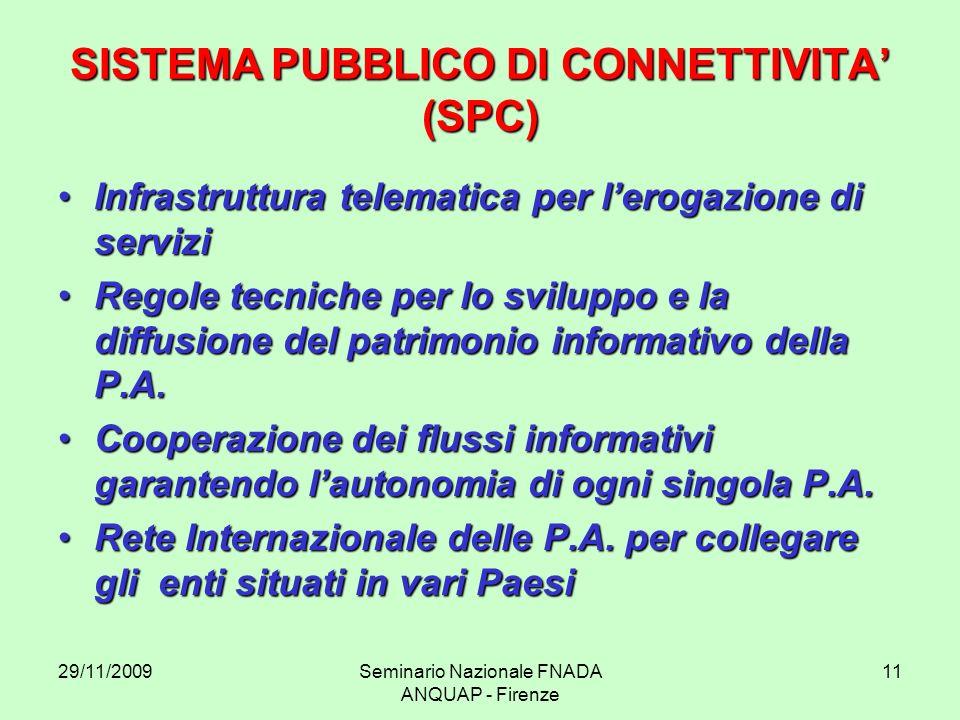 29/11/2009Seminario Nazionale FNADA ANQUAP - Firenze 11 SISTEMA PUBBLICO DI CONNETTIVITA (SPC) Infrastruttura telematica per lerogazione di serviziInf