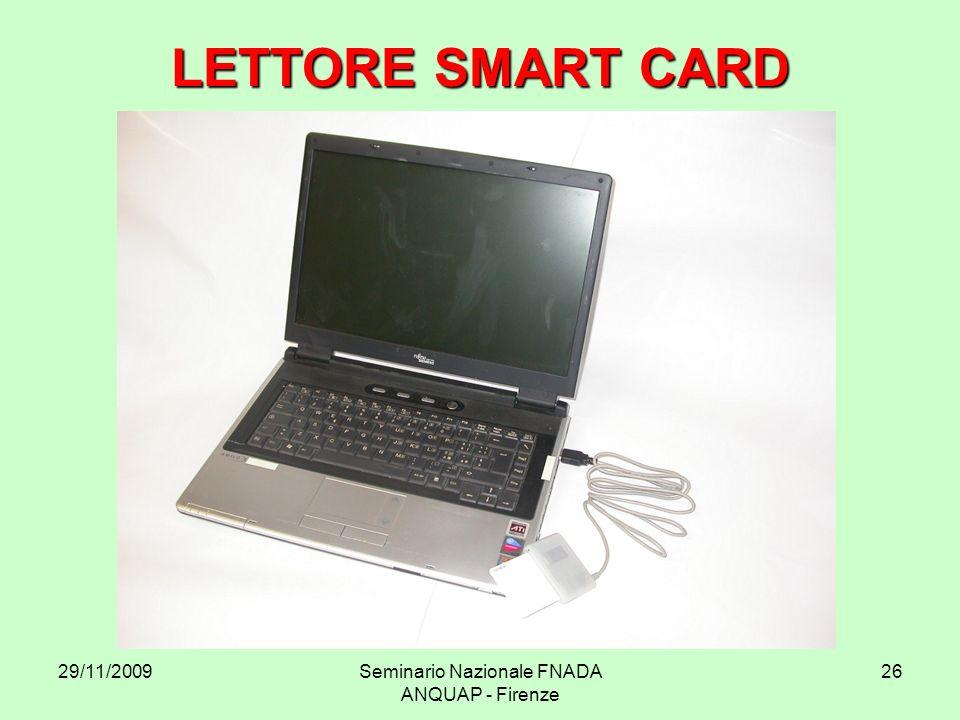 29/11/2009Seminario Nazionale FNADA ANQUAP - Firenze 26 LETTORE SMART CARD