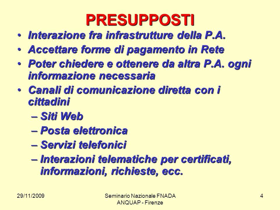 29/11/2009Seminario Nazionale FNADA ANQUAP - Firenze 4 PRESUPPOSTI Interazione fra infrastrutture della P.A.Interazione fra infrastrutture della P.A.