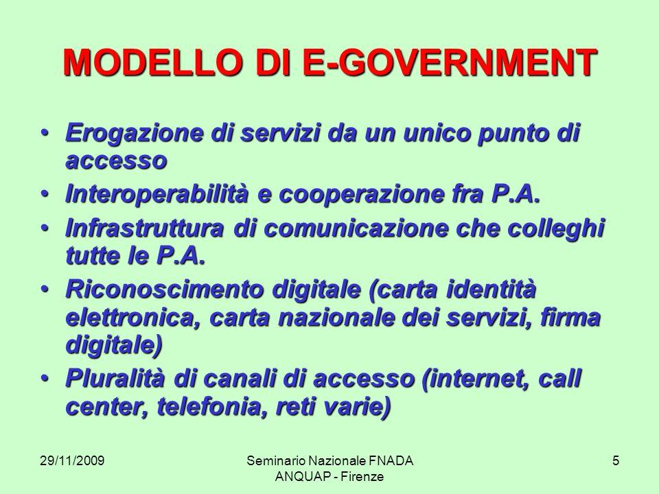 29/11/2009Seminario Nazionale FNADA ANQUAP - Firenze 5 MODELLO DI E-GOVERNMENT Erogazione di servizi da un unico punto di accessoErogazione di servizi