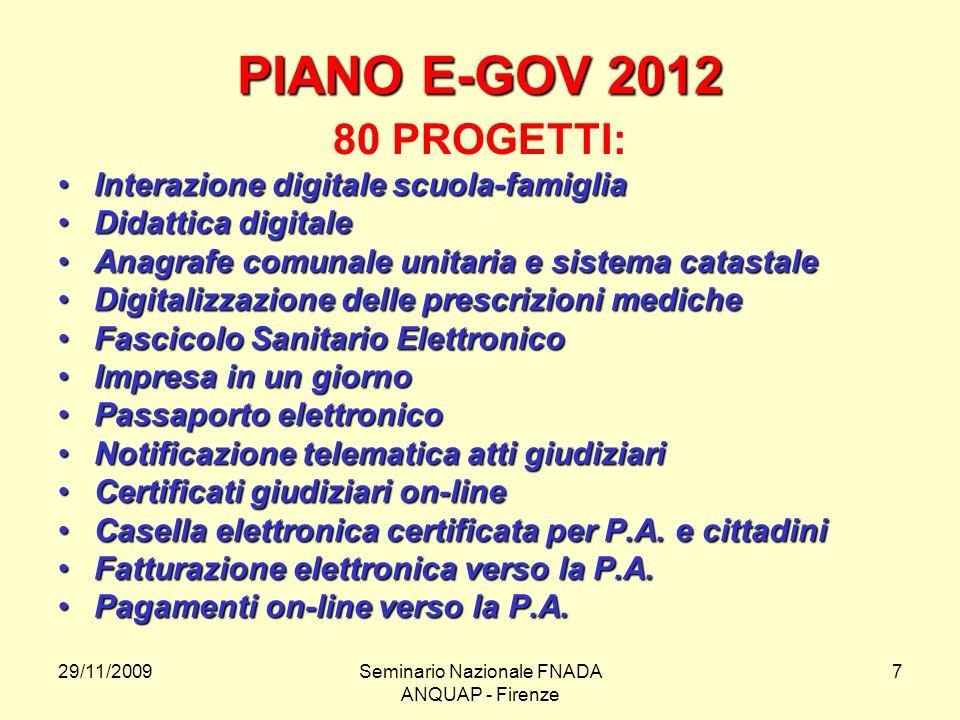 29/11/2009Seminario Nazionale FNADA ANQUAP - Firenze 7 PIANO E-GOV 2012 80 PROGETTI: Interazione digitale scuola-famigliaInterazione digitale scuola-f