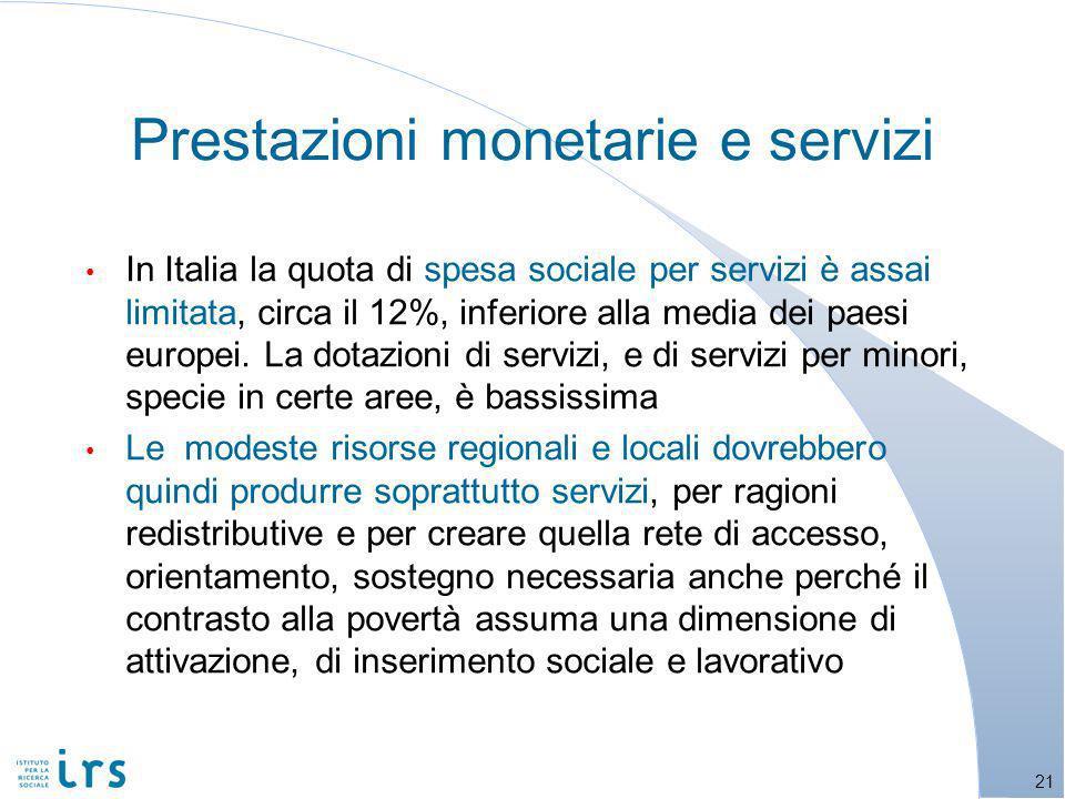 Prestazioni monetarie e servizi In Italia la quota di spesa sociale per servizi è assai limitata, circa il 12%, inferiore alla media dei paesi europei.