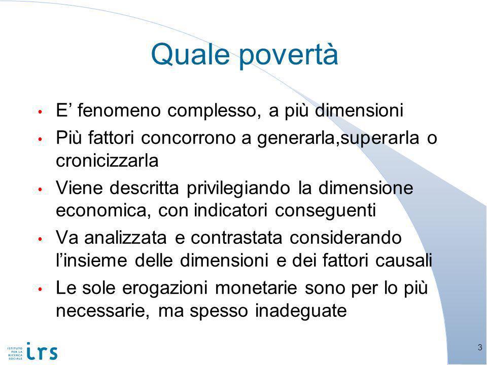 Limpatto di interventi mirati sulla povertà minorile 14 Fonte: A.