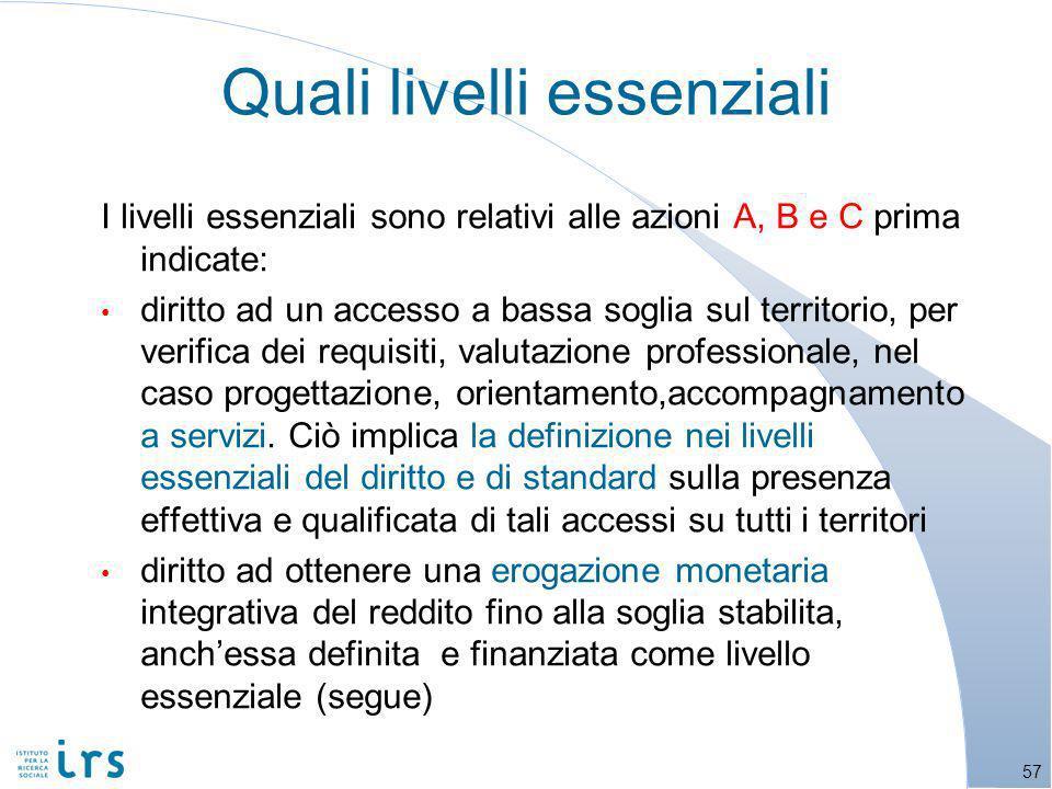 I livelli essenziali sono relativi alle azioni A, B e C prima indicate: diritto ad un accesso a bassa soglia sul territorio, per verifica dei requisiti, valutazione professionale, nel caso progettazione, orientamento,accompagnamento a servizi.