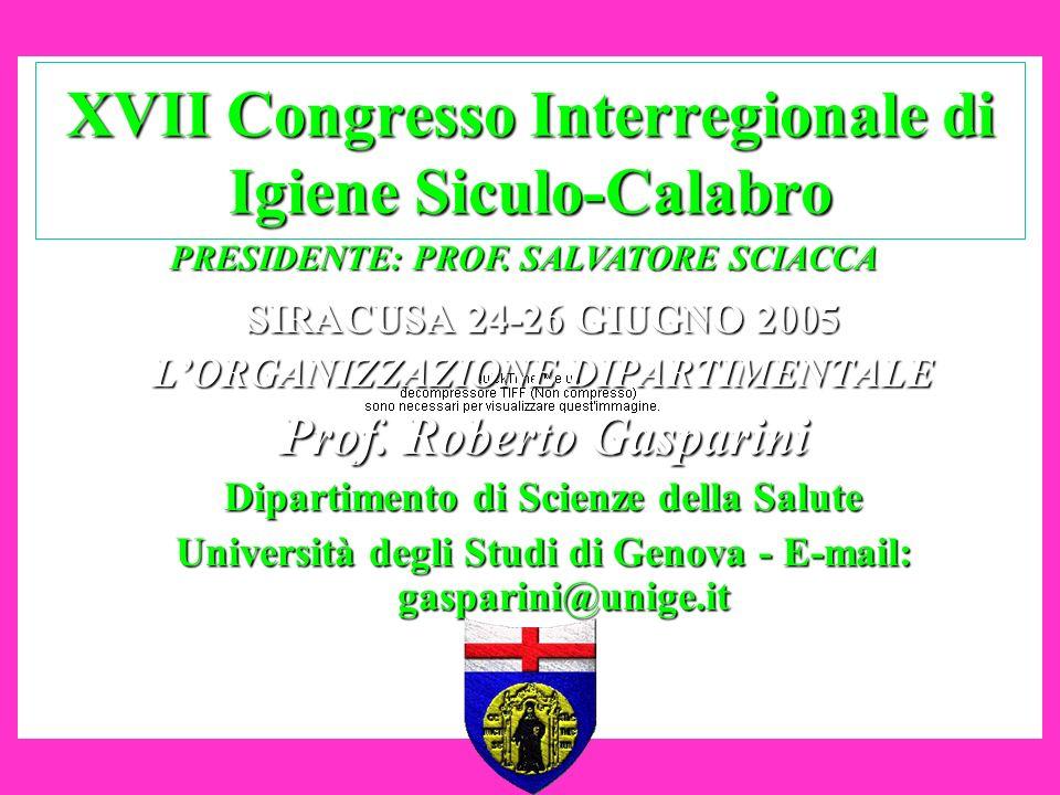 XVII Congresso Interregionale di Igiene Siculo-Calabro SIRACUSA 24-26 GIUGNO 2005 LORGANIZZAZIONE DIPARTIMENTALE Prof. Roberto Gasparini Dipartimento