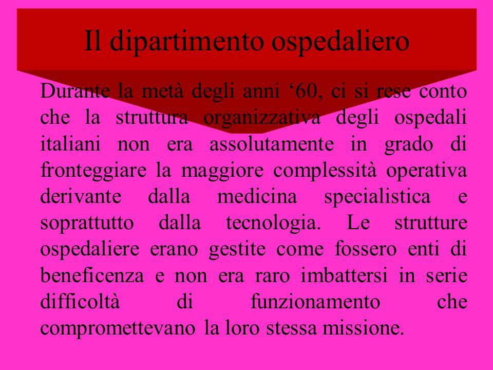 Il dipartimento ospedaliero Durante la metà degli anni 60, ci si rese conto che la struttura organizzativa degli ospedali italiani non era assolutamen