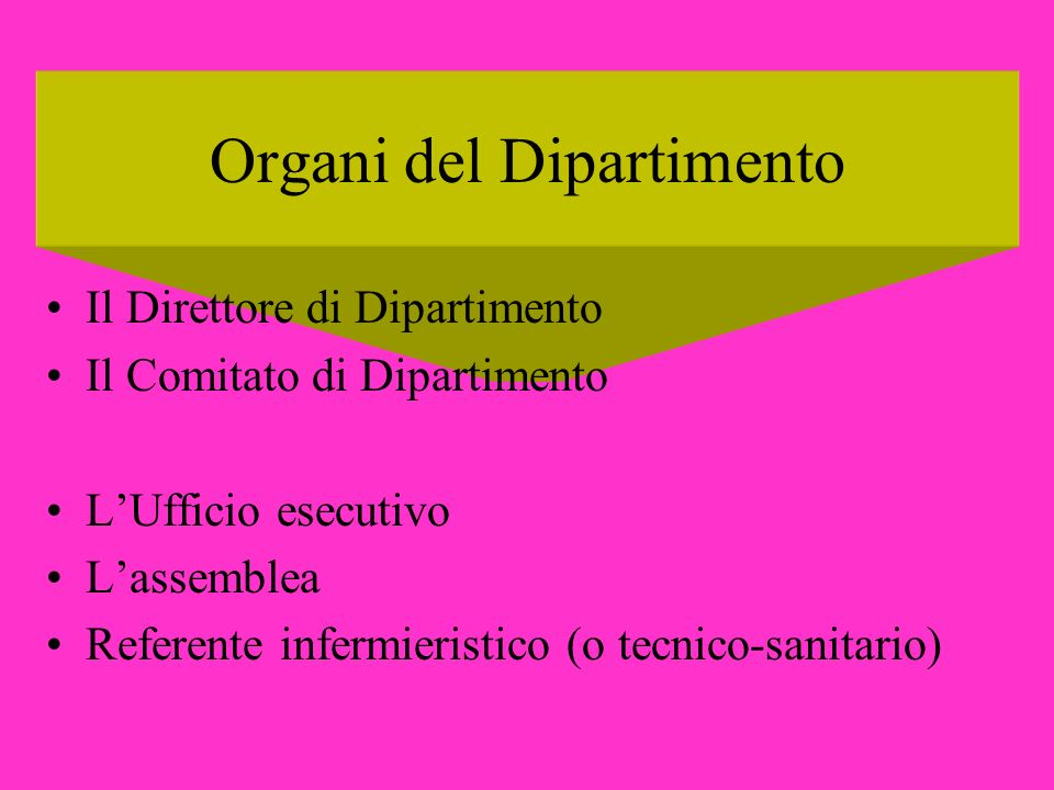 Organi del Dipartimento Il Direttore di Dipartimento Il Comitato di Dipartimento LUfficio esecutivo Lassemblea Referente infermieristico (o tecnico-sa
