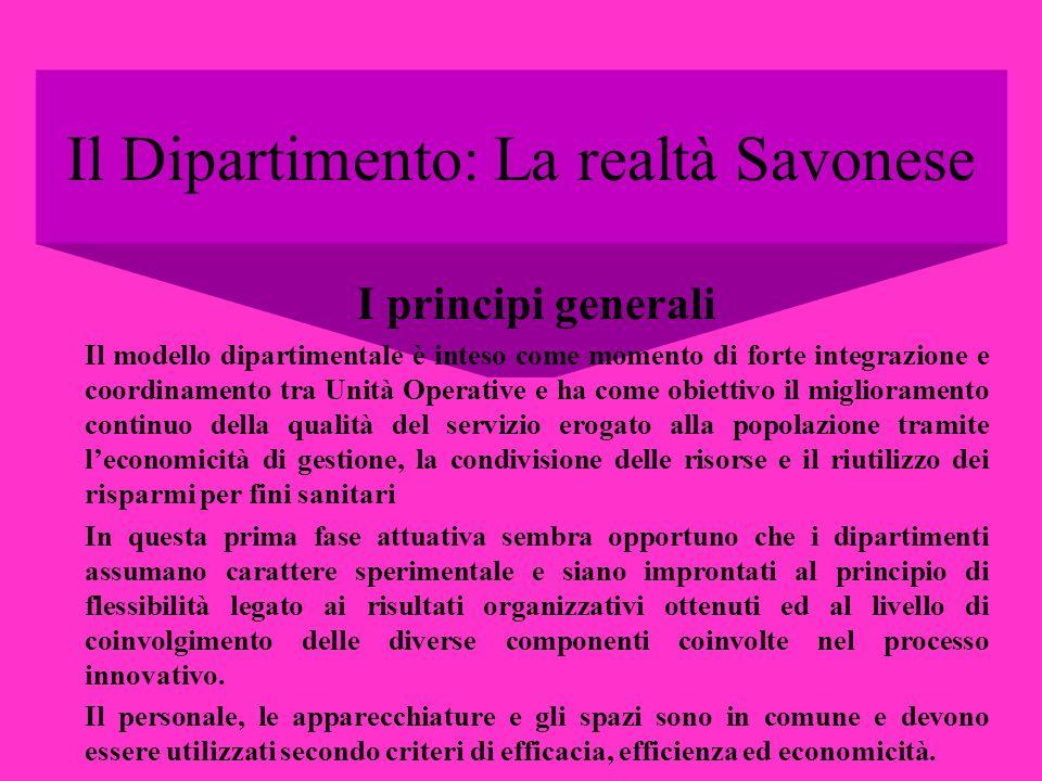 Il Dipartimento: La realtà Savonese I principi generali Il modello dipartimentale è inteso come momento di forte integrazione e coordinamento tra Unit