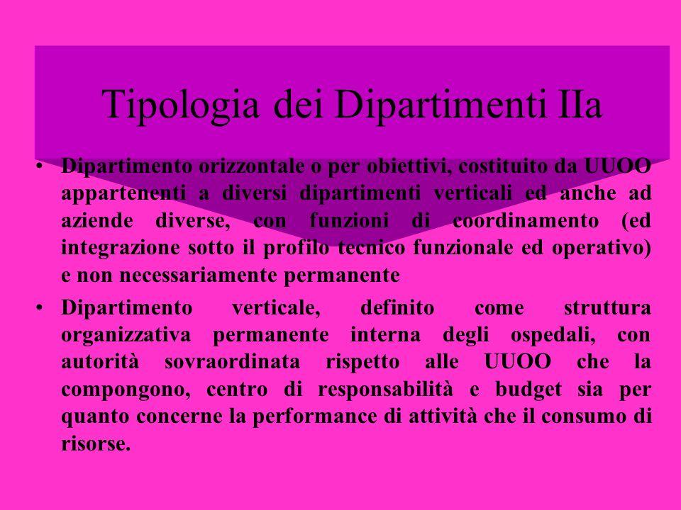 Tipologia dei Dipartimenti IIa Dipartimento orizzontale o per obiettivi, costituito da UUOO appartenenti a diversi dipartimenti verticali ed anche ad
