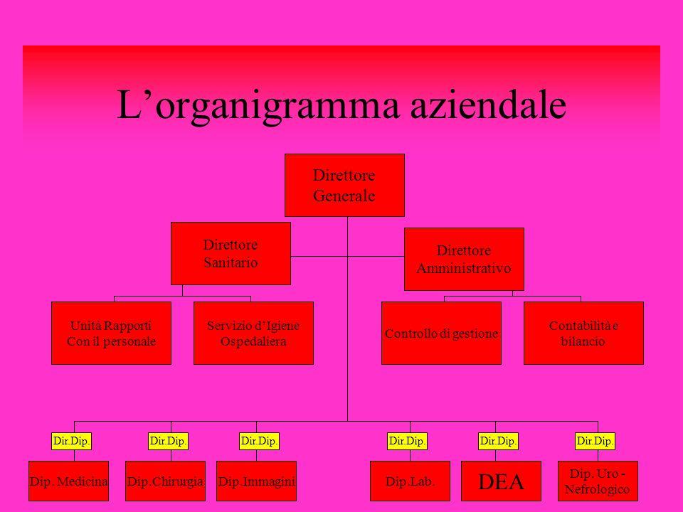 Lorganigramma aziendale Direttore Generale Direttore Sanitario Direttore Amministrativo Contabilità e bilancio Unità Rapporti Con il personale Control