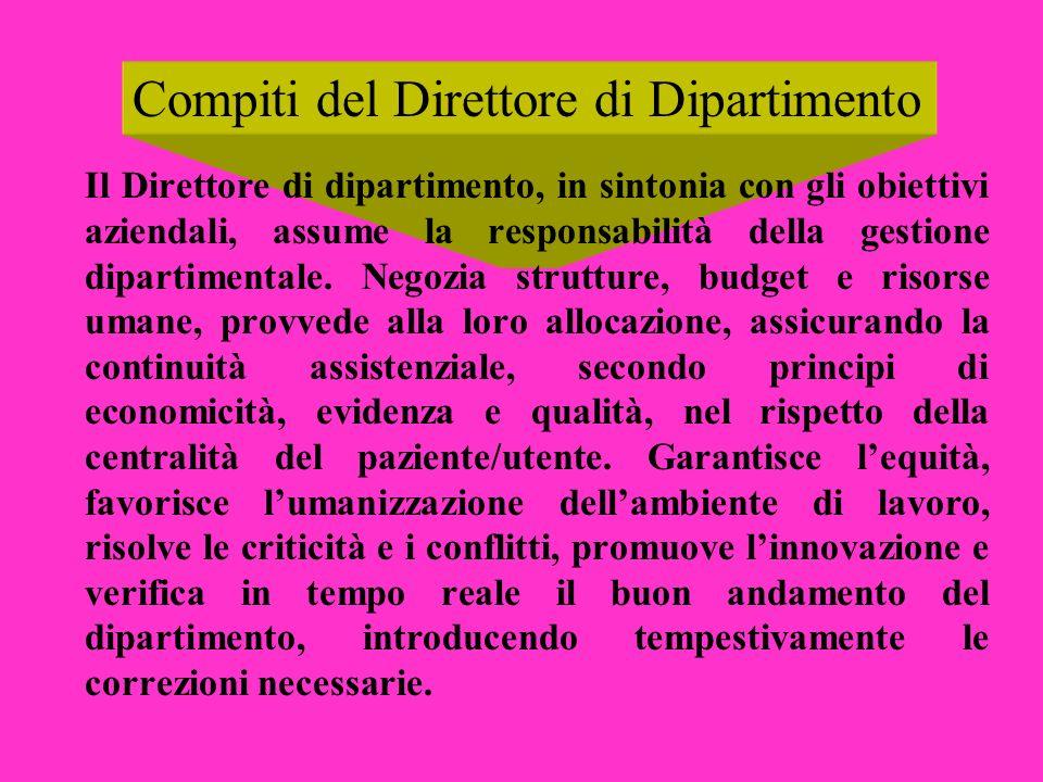 Compiti del Direttore di Dipartimento Il Direttore di dipartimento, in sintonia con gli obiettivi aziendali, assume la responsabilità della gestione d