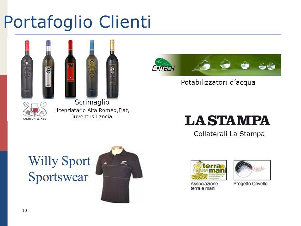 Portafoglio Clienti 10 Scrimaglio Licenziatario Alfa Romeo,Fiat, Juventus,Lancia Potabilizzatori dacqua Willy Sport Sportswear Collaterali La Stampa