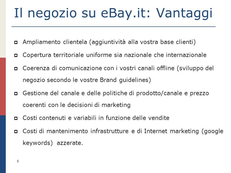 5 Il negozio su eBay.it: Vantaggi Ampliamento clientela (aggiuntività alla vostra base clienti) Copertura territoriale uniforme sia nazionale che inte