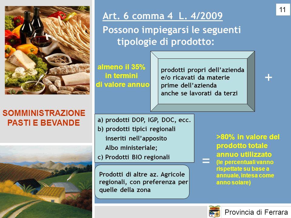 Art. 6 comma 4 L. 4/2009 Possono impiegarsi le seguenti tipologie di prodotto: SOMMINISTRAZIONE PASTI E BEVANDE a) prodotti DOP, IGP, DOC, ecc. b) pro