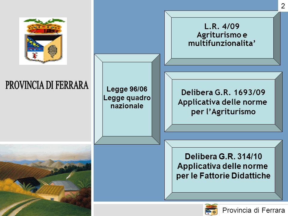 L.R. 4/09 Agriturismo e multifunzionalita Delibera G.R. 1693/09 Applicativa delle norme per lAgriturismo Delibera G.R. 314/10 Applicativa delle norme