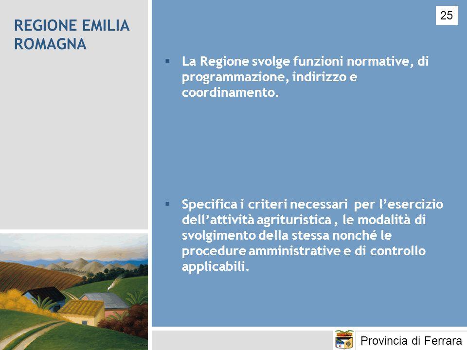 REGIONE EMILIA ROMAGNA La Regione svolge funzioni normative, di programmazione, indirizzo e coordinamento. Specifica i criteri necessari per lesercizi