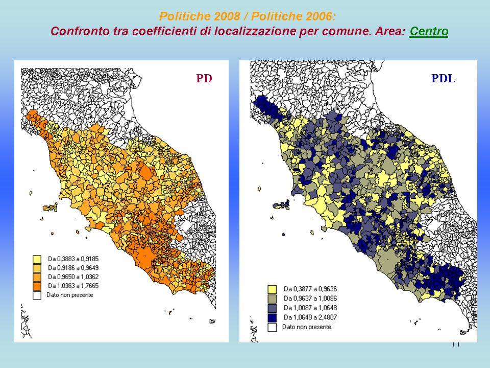 11 Politiche 2008 / Politiche 2006: Confronto tra coefficienti di localizzazione per comune.