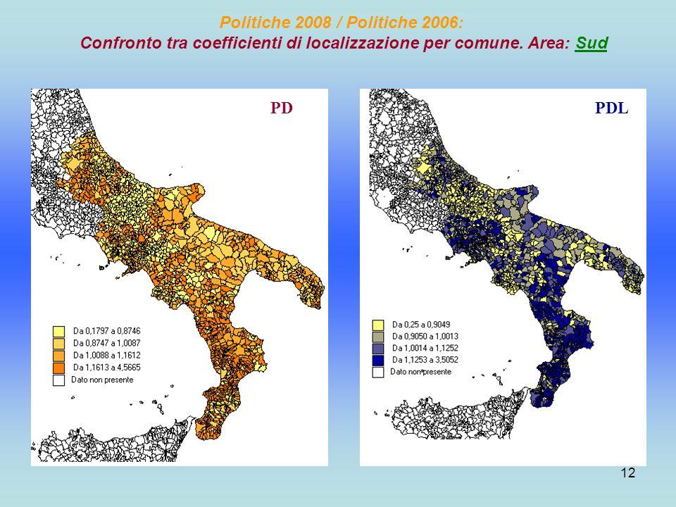 12 Politiche 2008 / Politiche 2006: Confronto tra coefficienti di localizzazione per comune.