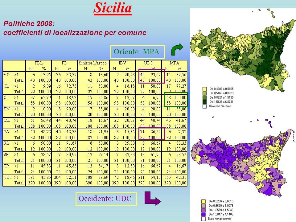 15 Politiche 2008: coefficienti di localizzazione per comune Sicilia Oriente: MPA Occidente: UDC