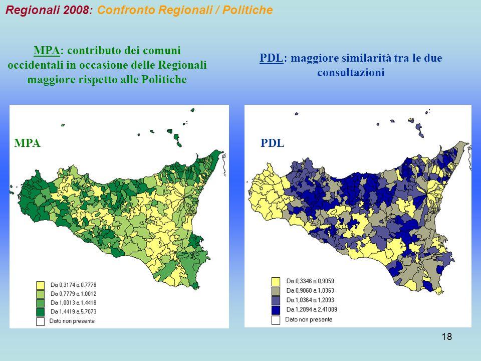 18 Regionali 2008: Confronto Regionali / Politiche MPAPDL MPA: contributo dei comuni occidentali in occasione delle Regionali maggiore rispetto alle Politiche PDL: maggiore similarità tra le due consultazioni