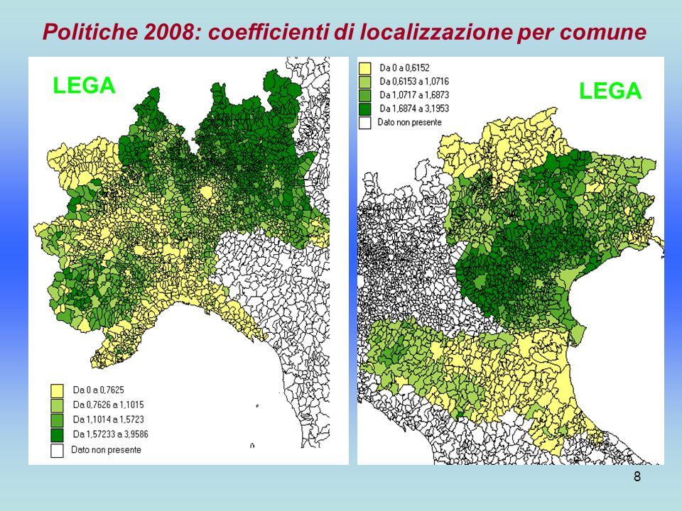 9 Politiche 2008: coefficienti di localizzazione per comune. Area: Nord-Ovest