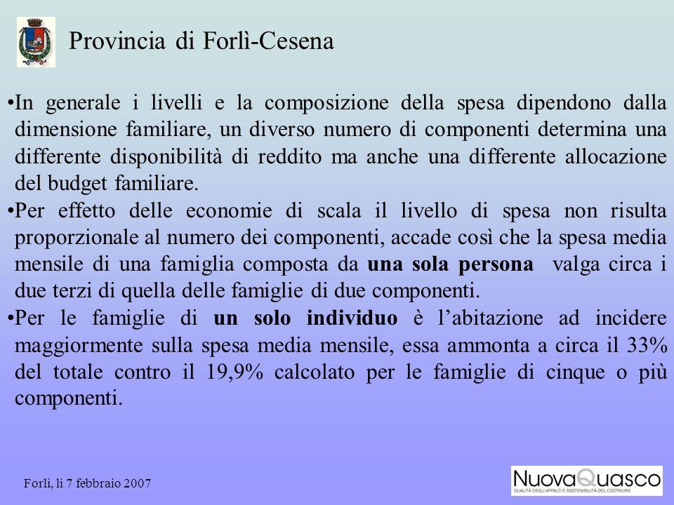 Forlì, li 7 febbraio 2007 Provincia di Forlì-Cesena In generale i livelli e la composizione della spesa dipendono dalla dimensione familiare, un diverso numero di componenti determina una differente disponibilità di reddito ma anche una differente allocazione del budget familiare.