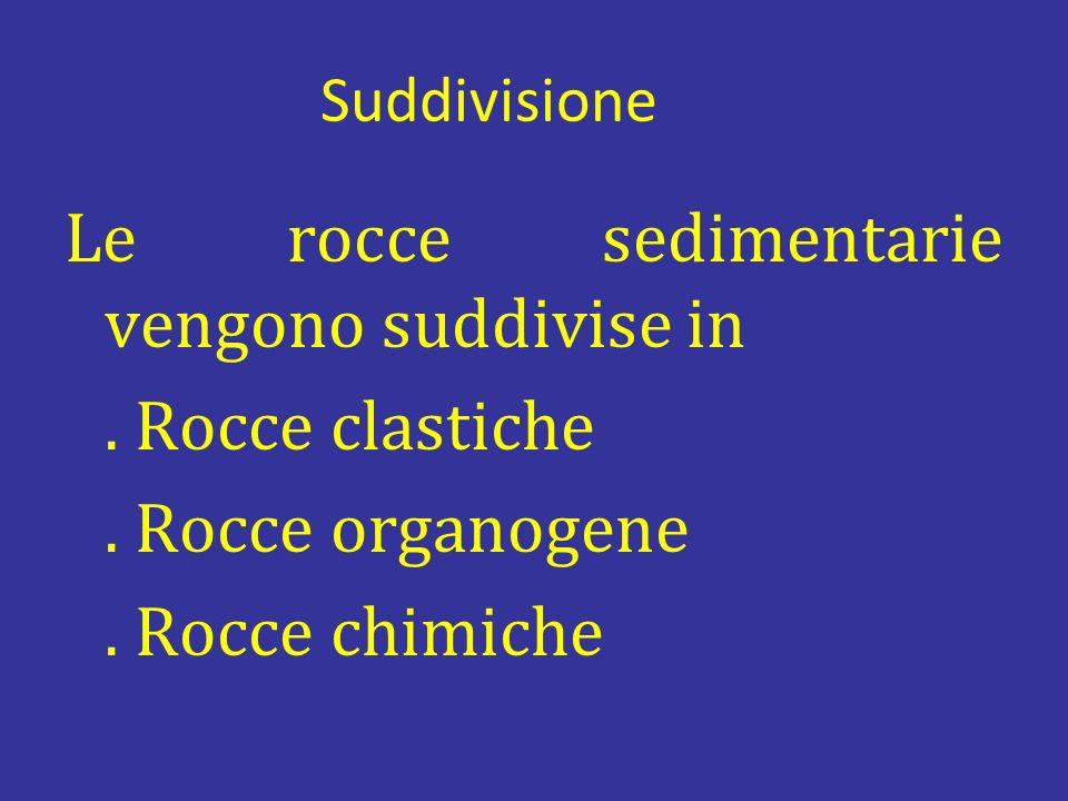 Suddivisione Le rocce sedimentarie vengono suddivise in. Rocce clastiche. Rocce organogene. Rocce chimiche