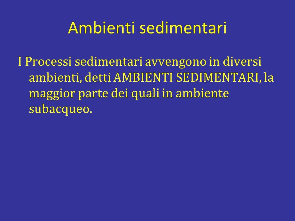 Ambienti sedimentari I Processi sedimentari avvengono in diversi ambienti, detti AMBIENTI SEDIMENTARI, la maggior parte dei quali in ambiente subacque