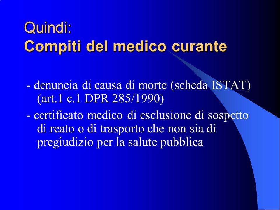 Quindi: Compiti del medico curante - denuncia di causa di morte (scheda ISTAT) (art.1 c.1 DPR 285/1990) - certificato medico di esclusione di sospetto
