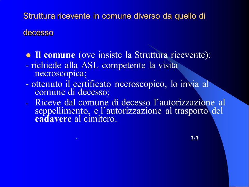 Struttura ricevente in comune diverso da quello di decesso Il comune (ove insiste la Struttura ricevente): - richiede alla ASL competente la visita ne