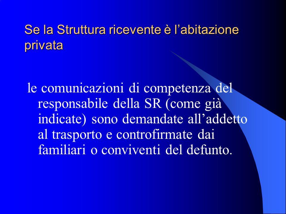 Se la Struttura ricevente è labitazione privata le comunicazioni di competenza del responsabile della SR (come già indicate) sono demandate alladdetto