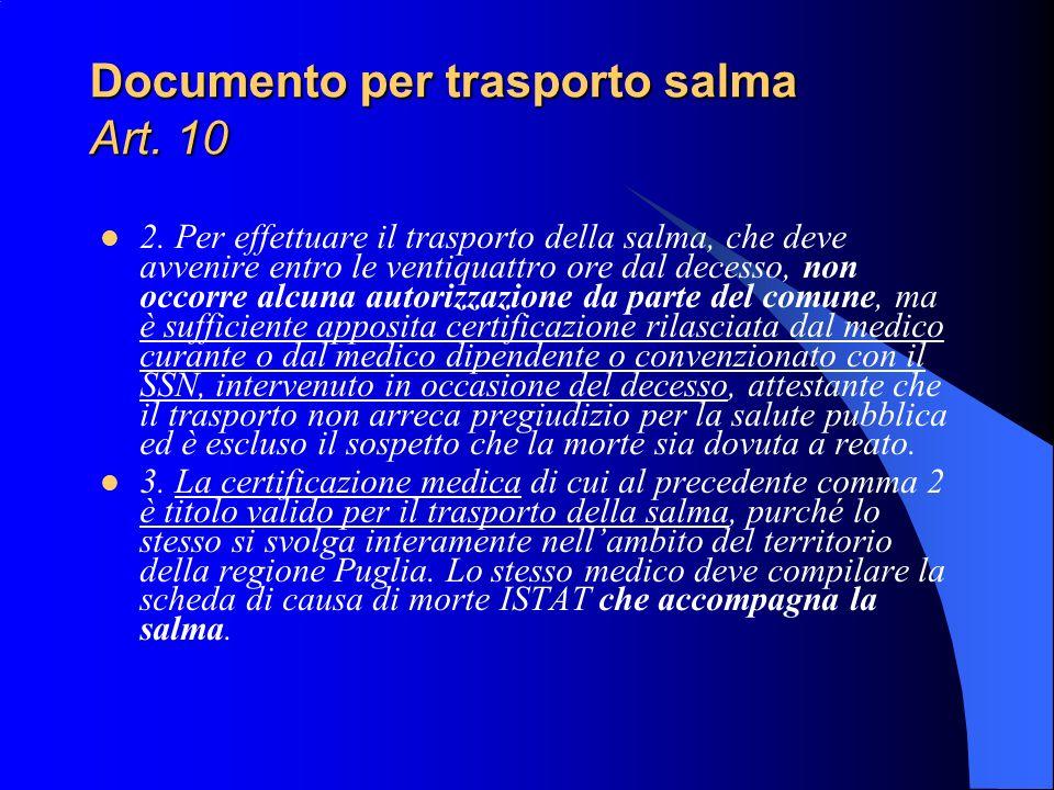 Documento per trasporto salma Art. 10 2. Per effettuare il trasporto della salma, che deve avvenire entro le ventiquattro ore dal decesso, non occorre