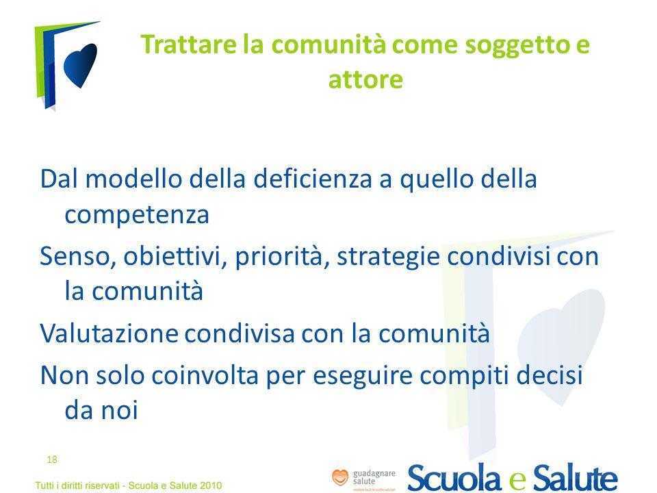 Trattare la comunità come soggetto e attore Dal modello della deficienza a quello della competenza Senso, obiettivi, priorità, strategie condivisi con