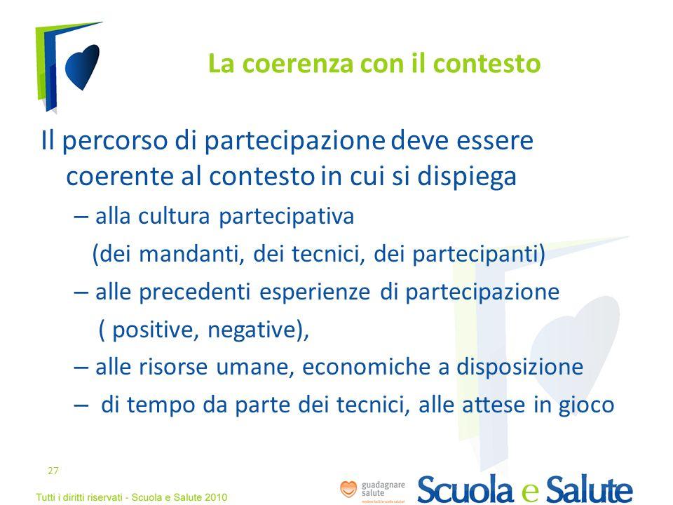 La coerenza con il contesto Il percorso di partecipazione deve essere coerente al contesto in cui si dispiega – alla cultura partecipativa (dei mandan