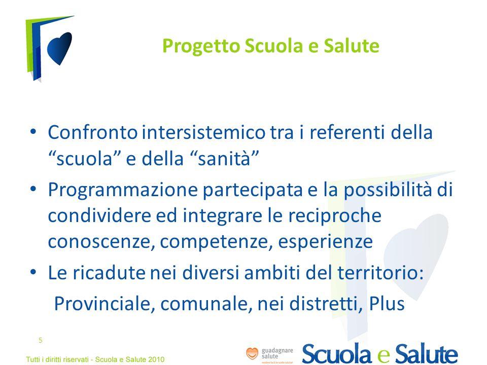 Progetto Scuola e Salute Confronto intersistemico tra i referenti della scuola e della sanità Programmazione partecipata e la possibilità di condivide