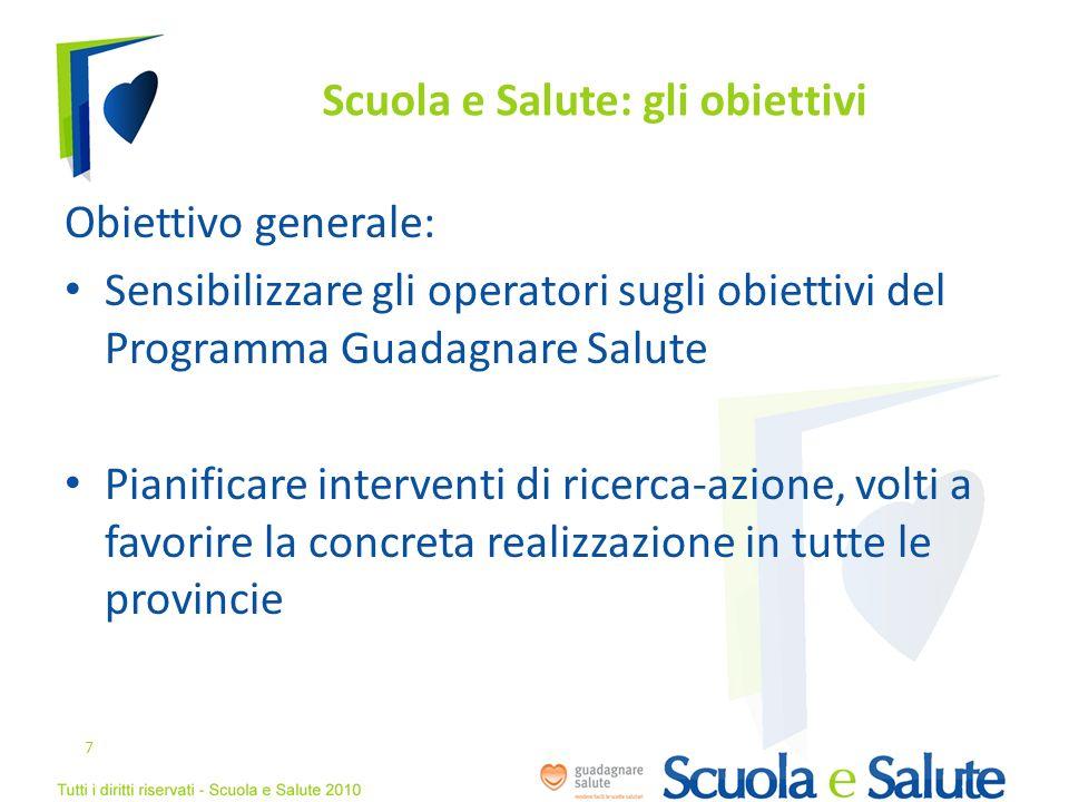 Scuola e Salute: gli obiettivi Obiettivo generale: Sensibilizzare gli operatori sugli obiettivi del Programma Guadagnare Salute Pianificare interventi