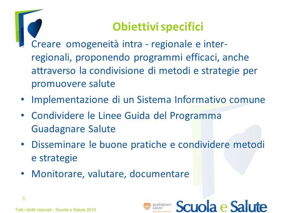 Obiettivi specifici Creare omogeneità intra - regionale e inter- regionali, proponendo programmi efficaci, anche attraverso la condivisione di metodi
