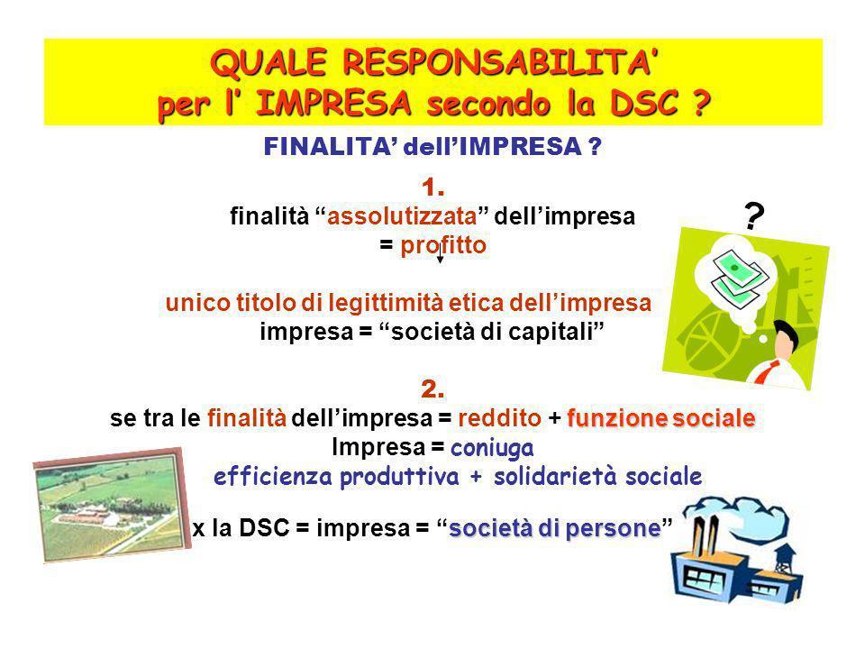 QUALE RESPONSABILITA per l IMPRESA secondo la DSC .