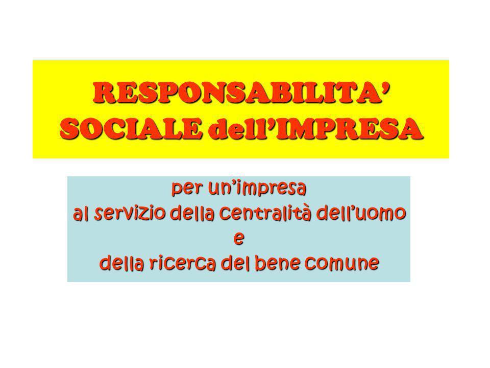 RESPONSABILITA SOCIALE dellIMPRESA per unimpresa al servizio della centralità delluomo e della ricerca del bene comune