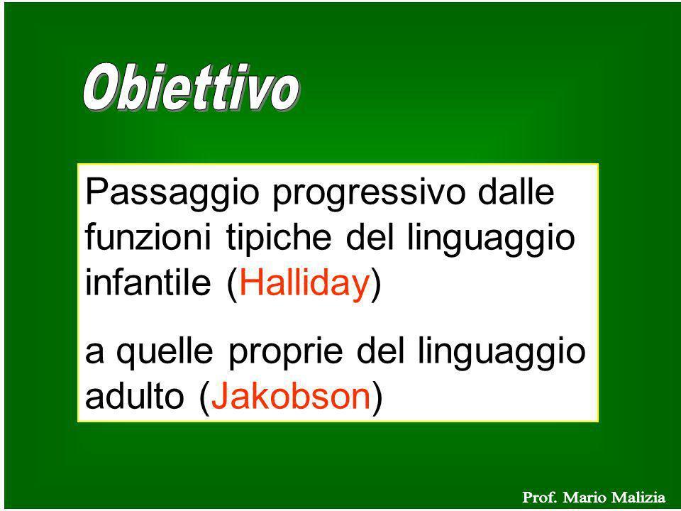 Passaggio progressivo dalle funzioni tipiche del linguaggio infantile (Halliday) a quelle proprie del linguaggio adulto (Jakobson)