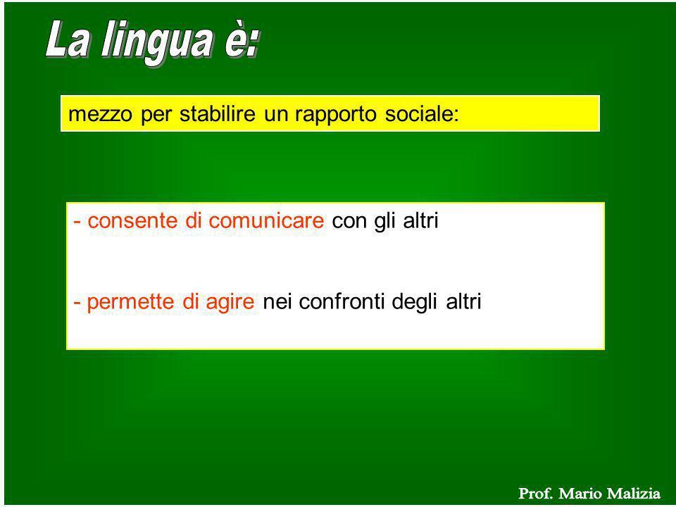 mezzo per stabilire un rapporto sociale: - consente di comunicare con gli altri - permette di agire nei confronti degli altri