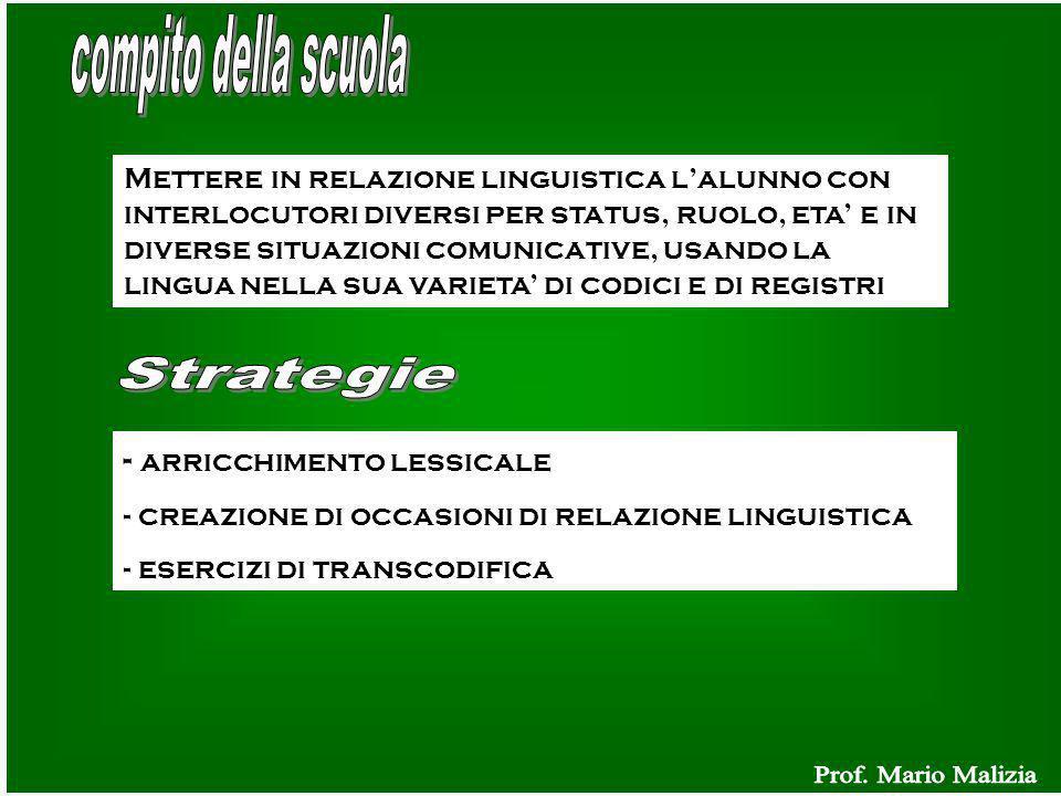 Mettere in relazione linguistica lalunno con interlocutori diversi per status, ruolo, eta e in diverse situazioni comunicative, usando la lingua nella