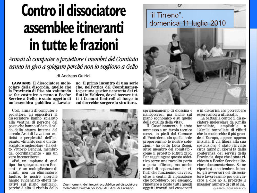 il Tirreno, domenica 11 luglio 2010
