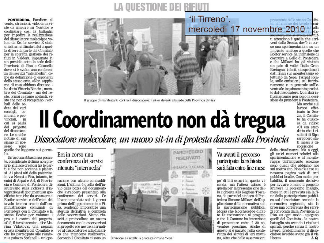 il Tirreno, mercoledì 17 novembre 2010